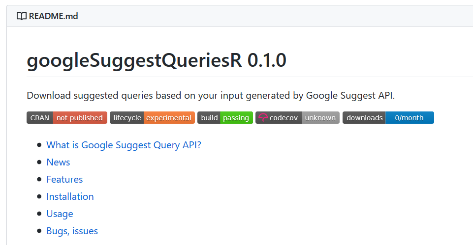 googleSuggestQueriesR package readme file screen